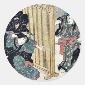 Acto diez del Chushingura por Utagawa, Kuniyasu Etiquetas Redondas