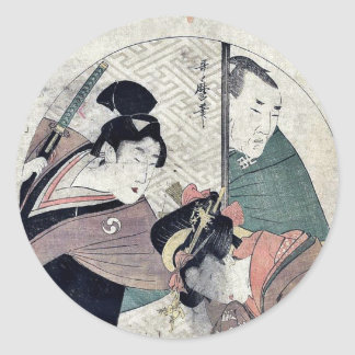 Acto dos del Chushingura por Kitagawa, Utamaro Pegatinas Redondas