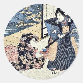 Acto dos del Chushingura por Utagawa, Kuniyasu Pegatinas Redondas