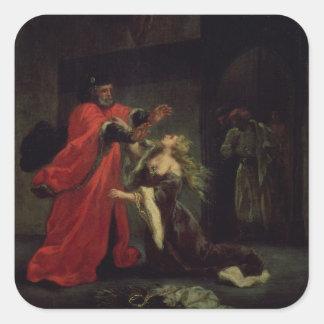 Acto I, escena 3: Desdemona que se arrodilla en su Pegatina Cuadrada