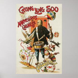 Acto mágico chino del vintage del ~ de Chungkin Li Posters