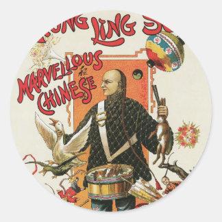 Acto mágico chino del vintage del ~ de Chungkin Pegatinas Redondas