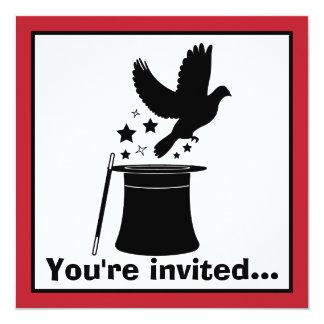 """Acto mágico: Cumpleaños de la paloma, del gorra y Invitación 5.25"""" X 5.25"""""""