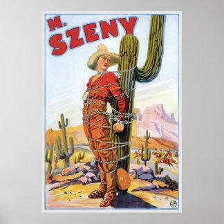 Acto mágico de la maravilla del vaquero del vintag póster