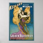 Acto mágico del vintage de oro de la mariposa del  impresiones