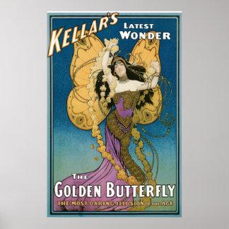 Acto mágico del vintage de oro de la mariposa del póster