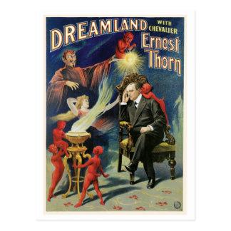 Acto mágico del vintage del Dreamland del ~ del Postal