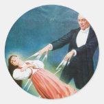 Acto mágico del vintage del mago de la levitación pegatinas redondas