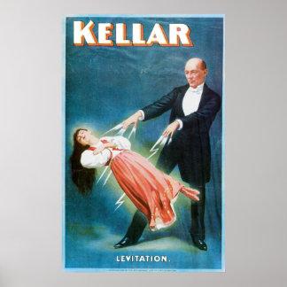 Acto mágico del vintage del mago de la levitación  póster