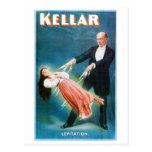 Acto mágico del vintage del mago de la levitación  tarjetas postales