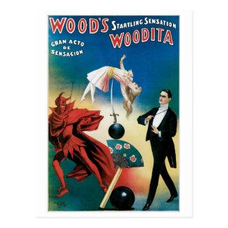 Acto mágico del vintage del mago de Woodita del ~ Postal