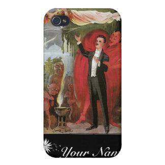 Acto mágico del vintage del mago del amo del ~ de  iPhone 4 fundas