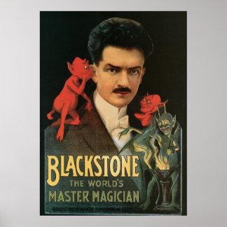 Acto mágico del vintage del mago del amo del ~ de  póster