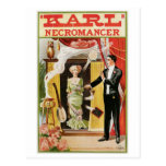 Acto mágico del vintage del mago del nigromante de tarjeta postal