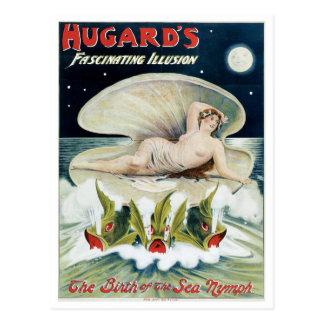 Acto mágico del vintage fascinador de la ilusión d tarjeta postal