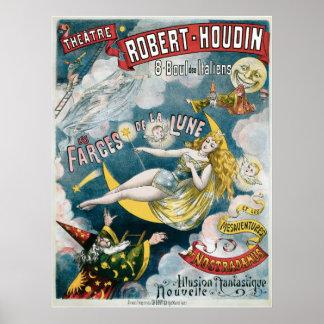 Acto mágico del vintage francés del mago del ~ de  póster