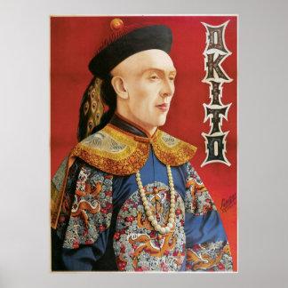 Acto mágico del vintage oriental del mago del ~ de póster