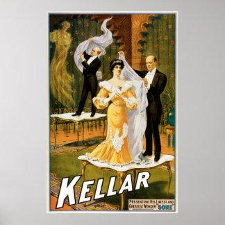 Acto mágico ido ~ del vintage del mago de Kellar Posters