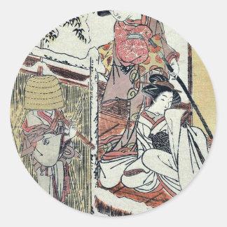 Acto nueve del Chushingura por Katsukawa, Shunsho Pegatinas Redondas