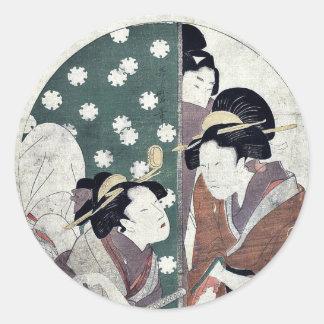 Acto nueve del Chushingura por Kitagawa, Utamaro Etiqueta Redonda