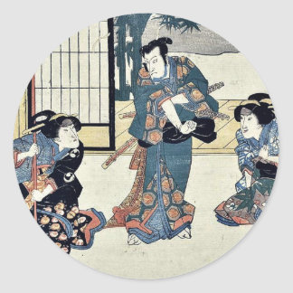 Acto nueve del Chushingura por Utagawa, Kuniyasu Etiquetas Redondas