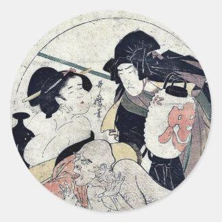 Acto once del Chushingura por Kitagawa, Utamaro Etiquetas Redondas