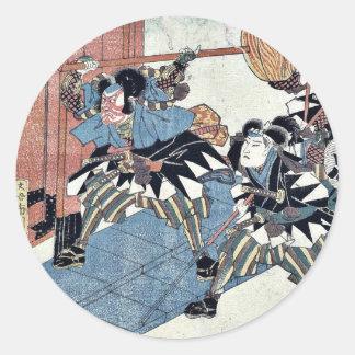 Acto once del Chushingura por Utagawa, Kuniyasu Pegatina Redonda