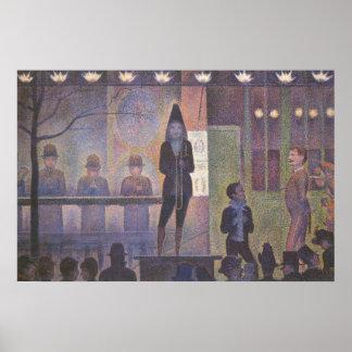 Acto secundario de circo por Seurat, arte del Impresiones
