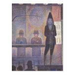 Acto secundario de circo por Seurat, arte del Postal