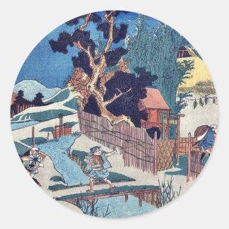 Acto seis de Kanadehon Chushingura por Utagawa, Etiqueta Redonda