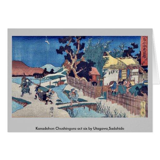 Acto seis de Kanadehon Chushingura por Utagawa, Sa Tarjeton