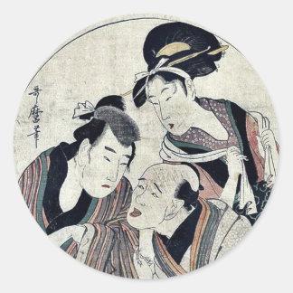 Acto seis del Chushingura por Kitagawa, Utamaro Etiqueta Redonda