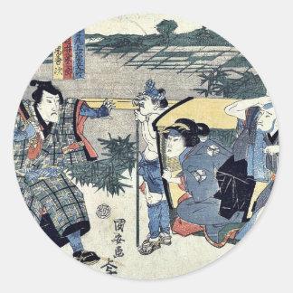 Acto seis del Chushingura por Utagawa, Kuniyasu Pegatina Redonda