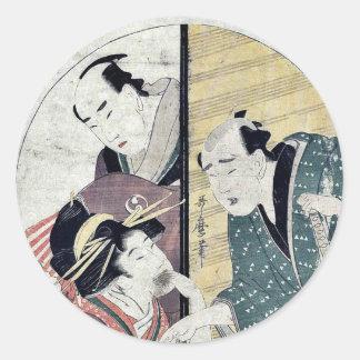 Acto siete del Chushingura por Kitagawa, Utamaro Etiquetas Redondas