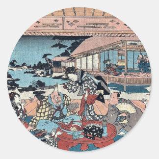 Acto siete por Utagawa, Toyokuni Ukiyoe Pegatina Redonda