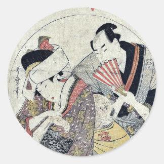 Acto tres del Chushingura por Kitagawa, Utamaro Etiqueta Redonda