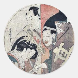 Acto uno del Chushingura por Kitagawa, Utamaro Etiqueta Redonda