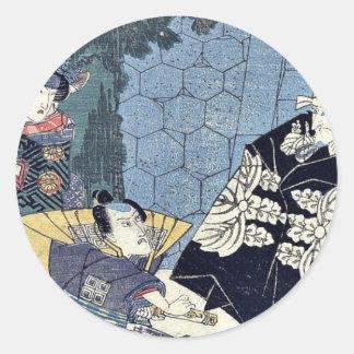 Acto uno del Chushingura por Utagawa, Kuniyasu Etiquetas Redondas