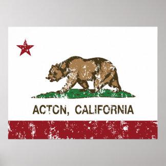 Acton California Republic Flag Poster