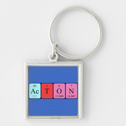 Acton periodic table name keyring Silver-Colored square keychain