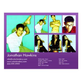 actor 2-Sided y comp violetas modelo del Headshot Postal