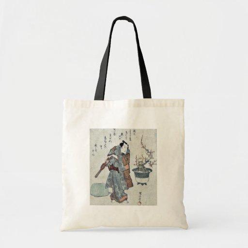 Actor and a potted plum tree by Utagawa,Kuniyasu Canvas Bags