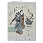 Actor and a potted plum tree by Utagawa,Kuniyasu Greeting Card
