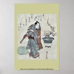 Actor and a potted plum tree by Utagawa,Kuniyasu Poster