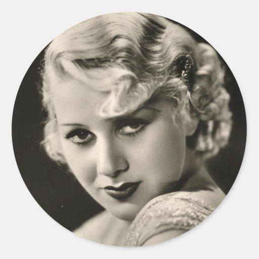 Actor de cine de los años 30 del vintage modelo pegatina redonda