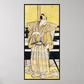 Actor de Katsukawa Shunsho como arte de Katana del Posters