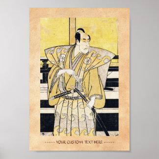 Actor de Katsukawa Shunsho como arte de Katana del Poster
