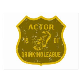 Actor Drinking League Postcard