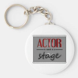 Actor en busca de una etapa, con Bkgrd y las luces Llavero Redondo Tipo Pin