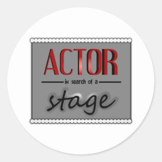Actor en busca de una etapa, con Bkgrd y las luces Pegatina Redonda